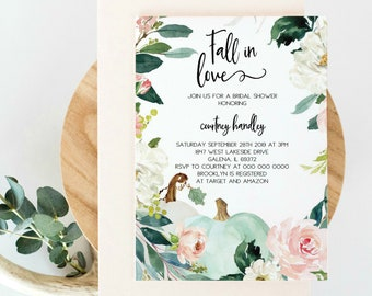 fall bridal shower invitation floral wreath pumpkin invitation fall in love invitation template diy instant download wlp1041