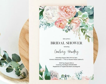 Pink Floral Bridal shower Invitation, Greenery Shower Invitation Template, Printable Invitation, DIY Instant Download, WLP-PIN 1118