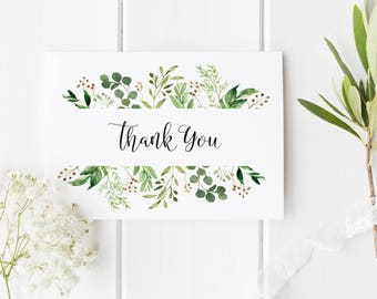 Greenery Thank You Card Template, Thank You Card Printable, Instant download, DIY Thank You Card, WLP626
