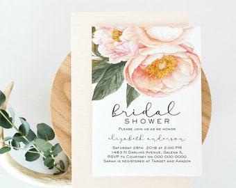 pink bridal shower invitation template floral pink bridal shower invitation printable instant download editable pdf wlp750