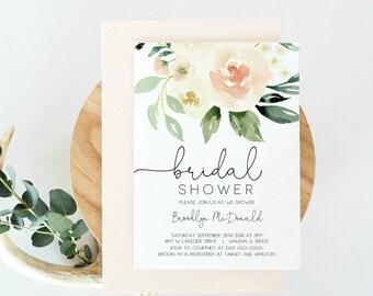 Bridal Shower Invitation template Peach Floral Invitation