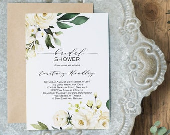 Floral Bridal Shower Invitation, Greenery Shower Invitation Template, Printable Invitation, DIY Instant Download, WLP-WHI 1114