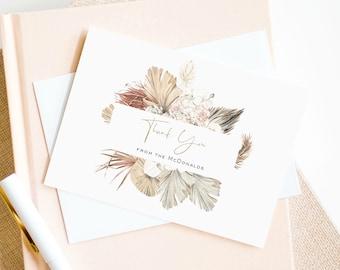 A2 Photo Thank You Card Editable Template Minimalist Wedding Thank You Card Boho Chic Thank You Card Pampas Grass Wedding Thank You