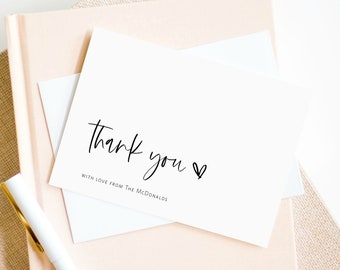 Minimalist Thank You Folded Card Editable Template Printable Thank You Card BD108 Modern Wedding Thank You Note Instant Download