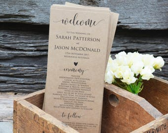Wedding Program Printable, Rustic Wedding Program Template, Order of Events Program,  Instant Download, WLP269