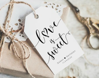 -  TG420005 circle tag set of 25 tags rectangle tag Wedding Love is sweet favor tag GOLD CONFETTI Printed Luggage tag