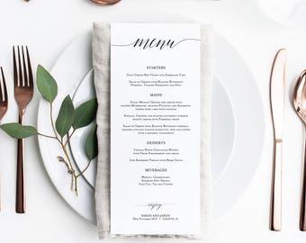 wedding menu template etsy