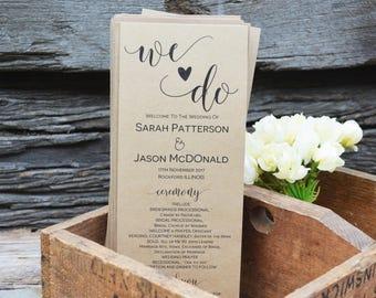Wedding Program Template, Wedding Program Printable, Instant Download, We Do Printable Ceremony Program, Order of Service Program, WLP228