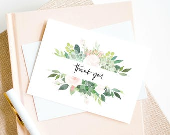 Greenery Thank you Template, Succulent Thank you Card Printable, Shower Thank you Card, Instant Download WLP638