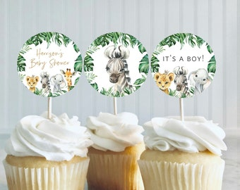 Navy and Blush TEMPLETT Gender Reveal Baby Shower Cupcake Toppers WLP-NBL 3921 Printable Cupcake Toppers Editable Baby Shower Toppers