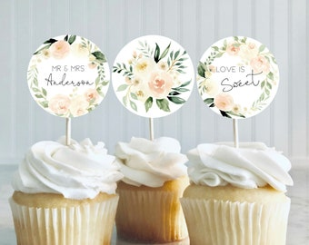 Bridal Shower Cupcake Toppers Etsy