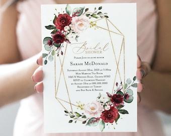 7d984c9c5ea8 Burgundy Blush Bridal Shower invitation