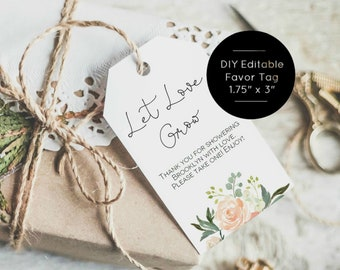 Let love grow tag etsy let love grow tag template printable succulent favor tag wedding favor tag 175x3 instant download edit yourself wlp959 solutioingenieria Choice Image