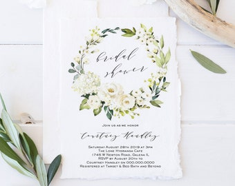 Bridal Shower Invitation Template, DIY Editable Shower Invite, Printable Greenery, Instant Download, WLP-WHI 1115