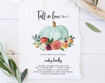 fall bridal shower invitation autumn bridal shower pumpkin invitation fall in love invitation instant download wlp1038