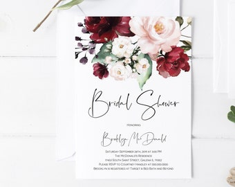 Boho Floral Bridal Shower Invitation, Greenery Printable Shower Invitation Template, DIY Instant Download, WLP1062
