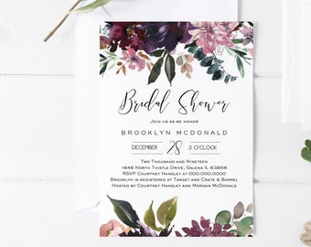 Floral Bridal Shower Invitation, Fall Printable Shower Invitation Template, DIY Instant Download Editable PDF, Edit Yourself, WLP1063