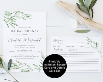 Bridal Shower Invitation template, Olive Greenery Bridal Shower Invitation Printable, Recipe Card, Details Card, Instant Download, WLP616