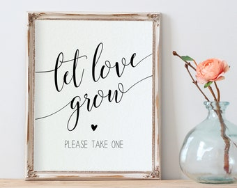 Wedding Printable 8x10 Wedding Sign Template Bridal Shower Please Take One Wedding Favors Sign Let Love Grow Sign yv365 Favor Sign