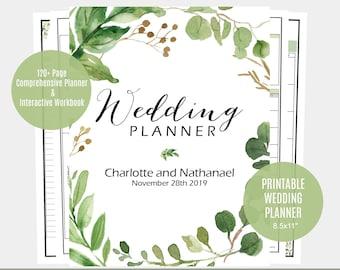 Wedding Planner, Greenery Wedding Planner, Printable Instant Download, DIY planning Organiser, WLP513