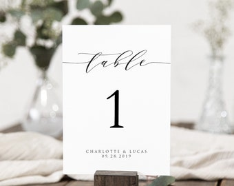 Wedding Table Numbers Template PDF 4x6 or ANY COLOR 4x6 Black Edit Online in Templett Vintage Script | Printable Table Numbers