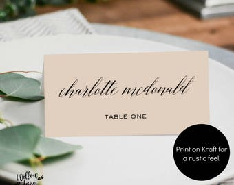 wedding place card template escort card printable name card etsy
