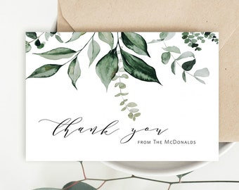 Personalized Greenery Thank You Cards for Adults Customized Eucalyptus Leaf Thank You Cards PS123 Custom Leaves Thank You for Women