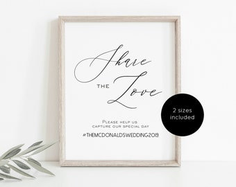 "Share the Love Sign, Wedding Hashtag Sign, Printable Wedding Template, 5x7"", 8x10"", DIY Editable Instant Download, WLP-GLA 1098"