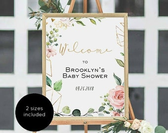 Baby Shower Welcome Sign, Welcome Poster, Pink Gold Flower Welcome Sign, Instant Download, Editable PDF, WLP1067