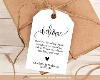 Wedding tags etsy welcome wedding tags printable wedding welcome favor tag template 275 x 4 tags hotel welcome bag tag instant download pdf wlp ele 343 maxwellsz