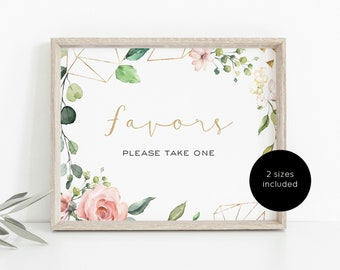 Pink Geometric Favors Sign, Favors Sign Template, Favours Sign Printable, Instant Download PDF, 5x7.8x10, WLP1068