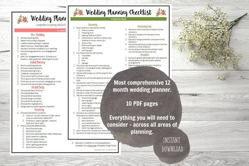 Ultimate 12 Month Wedding Planning Checklist, PDF digital file, Instant  Download,