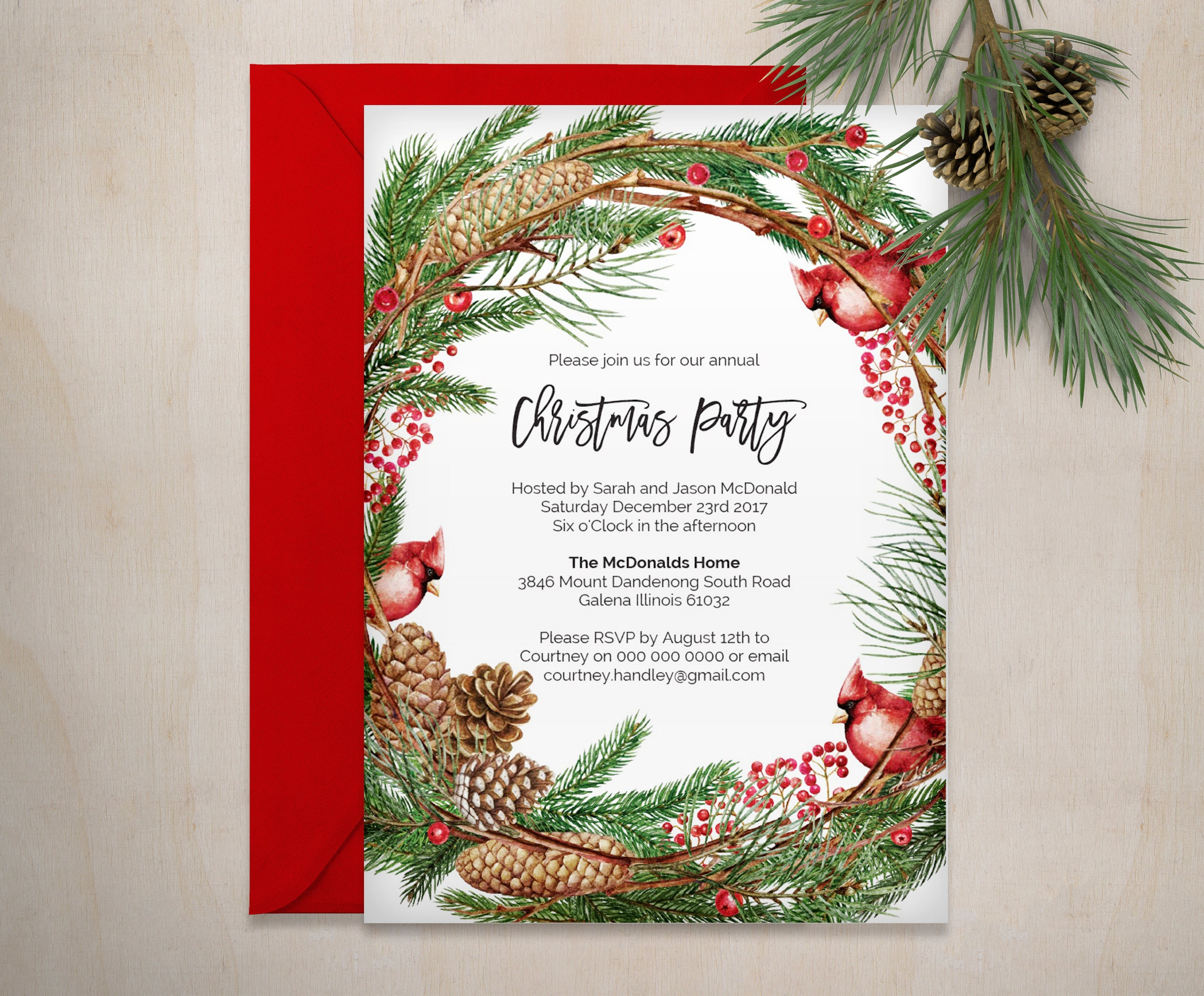 Christmas Invitation Printable Cardinal Christmas Invitation | Etsy