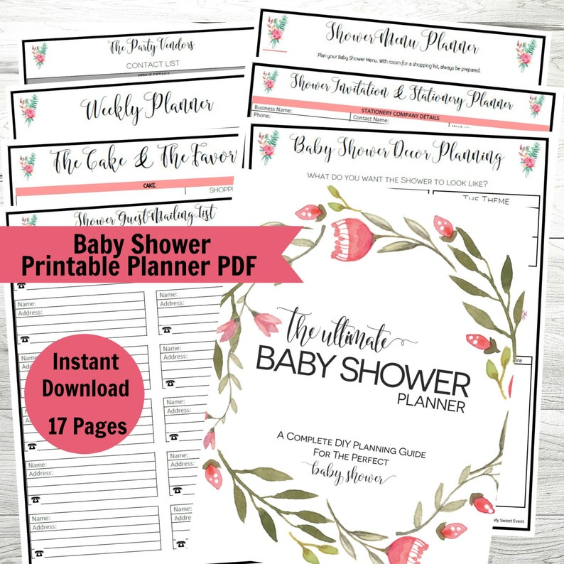 photo about Baby Shower Checklists Printable referred to as Youngster Shower Planner, Printable Kid Shower PDF, Get together Planner, Fast Down load, Shower Planner