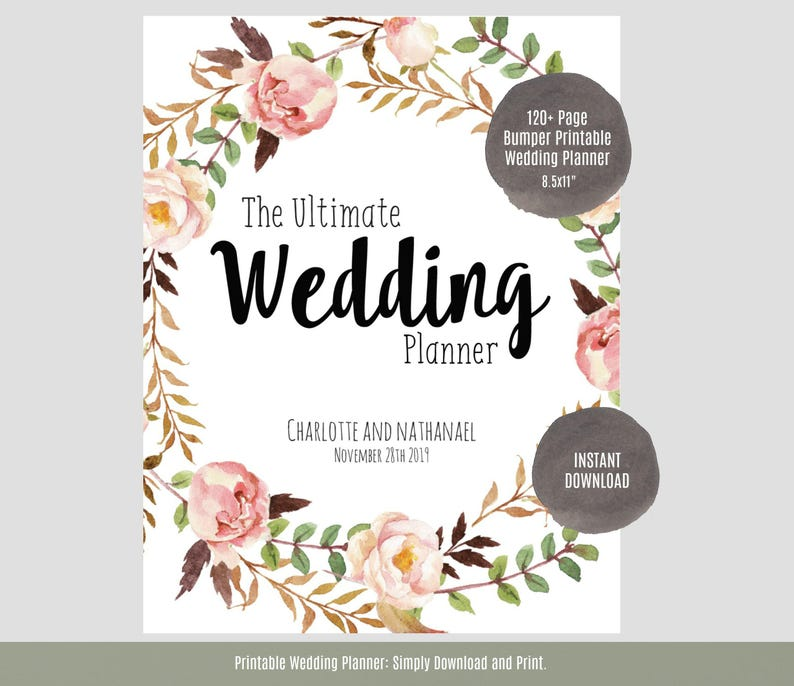 image relating to Printable Wedding Planner named Marriage Planner, Printable Marriage ceremony Planner, Marriage ceremony Binder, Do it yourself building organizer, 8.5x11\