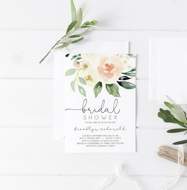 1c13821e3fae Blush Bridal Shower Invitation Template Floral Bridal Shower
