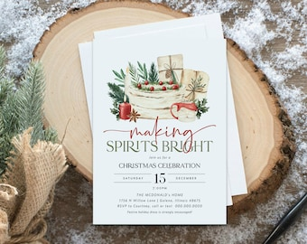 Christmas Party Invitation, Friends Christmas Party Invitation, Making Spirits Bright Invitation, Holiday Party, Edit with TEMPLETT, WLP4488