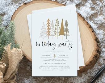 Christmas Invitation, Minimalist Christmas Party Invitation, Christmas Trees Invitation, Instant Download, Edit with TEMPLETT, WLP4480