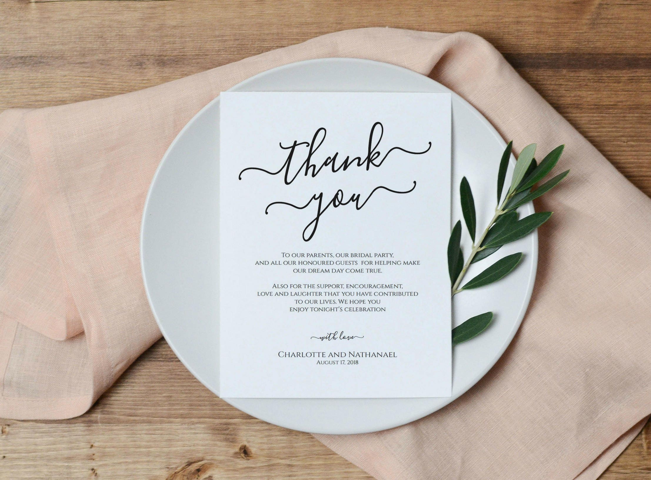 Thank You Note For Wedding Gift Card: Wedding Thank You Card Printable Thank You Note Template