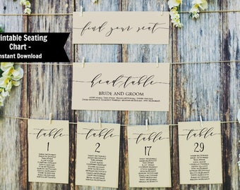 Wedding Seating Chart Template, Printable Table Seating Plan, Wedding Seating Chart Poster,  Instant Download, Find Your Seat Chart, WLP384
