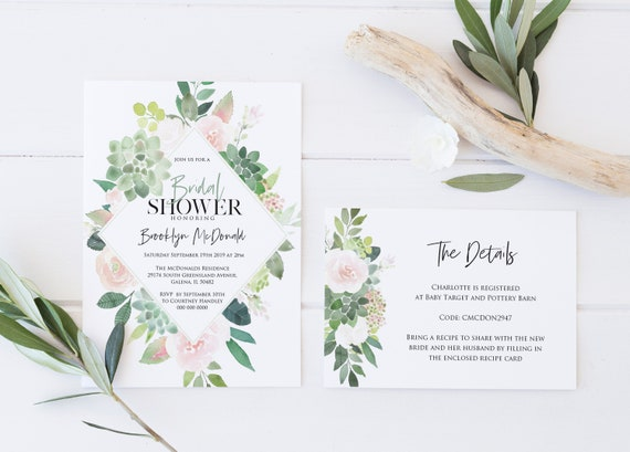92c815ae6c8 Succulent Bridal shower Invitation Template Details Card