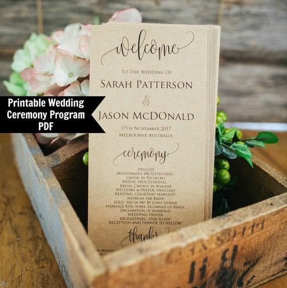 Wedding Program Template Printable Wedding Program Rustic