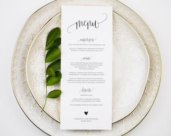 Wedding Menu Template, Wedding Menu Printable, Menu Template, Rustic Wedding Menu, Menu Card, Edit with TEMPLETT, WLP-ELE 110