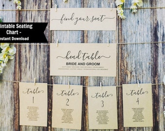 Wedding Seating Chart Template, Wedding Seating Chart Printable, Seating Cards, TEMPLETT, Find your Seat Sign, WLP-BLO