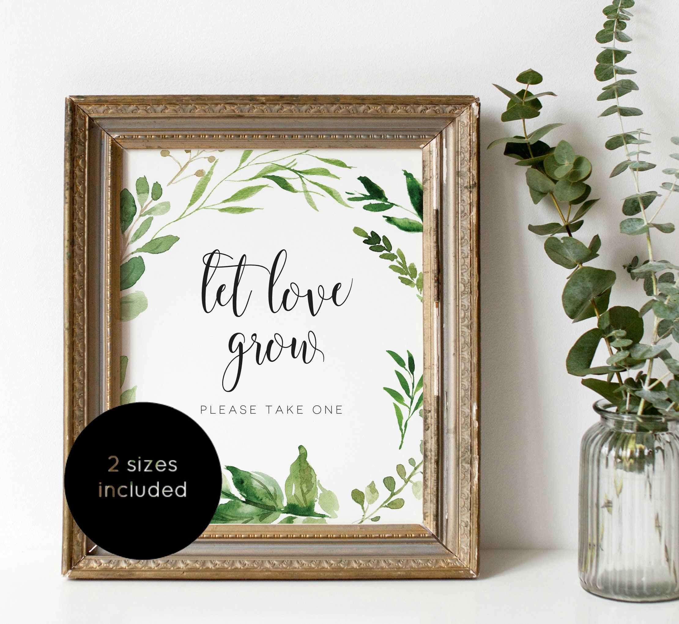 Let Love Grow Sign Favor Sign Template Greenery Favor Sign Etsy