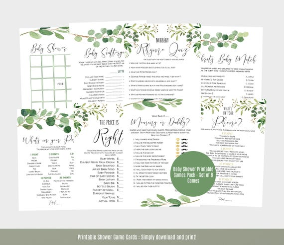 Baby Shower Games Template Greenery Baby Shower Game Cards Etsy