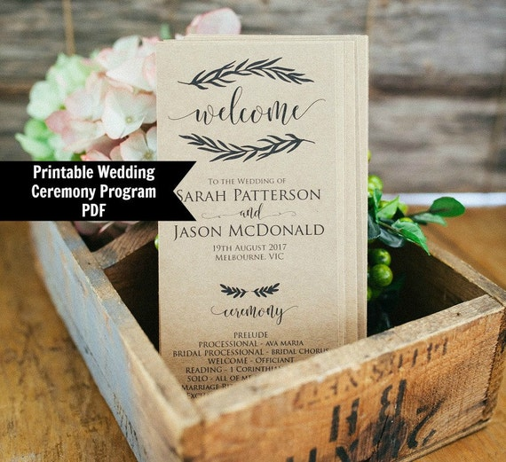 wedding program template rustic wedding program printable etsy