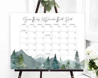 Mountains Baby Due Date Calendar, Baby Shower Game, Guess Baby's Birthday, Editable Baby Prediction, TEMPLETT, Due Date Game, WLP-MOU 3721