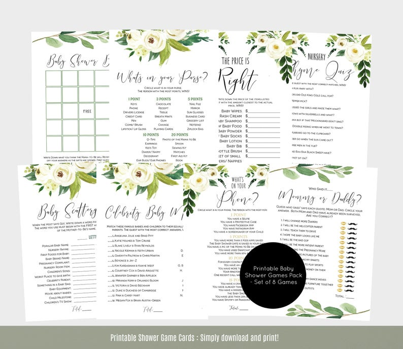 Floral Baby Shower Games Pack Baby Shower Games Template Etsy