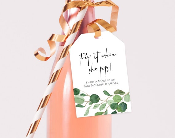 Pop it when She Pops Printable Shower Favor Template Citrus Baby Shower Tag 2x3 Editable with TEMPLETT WLP-CIT 2350 Tag